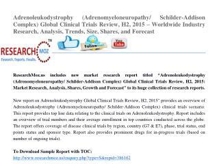 Adrenoleukodystrophy (Adrenomyeloneuropathy/ Schilder-Addison Complex) Global Clinical Trials Review, H2, 2015