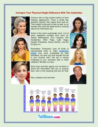 Comapre Your Physical Height Difference With The Celebrities