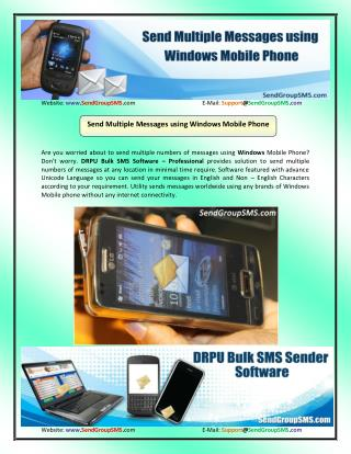 Send Messages using Windows Mobile Phone