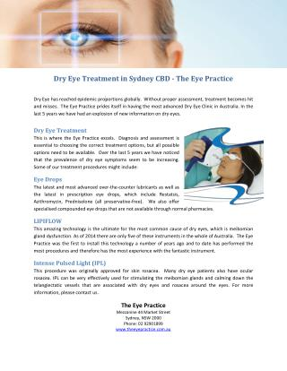 Dry Eye Treatment in Sydney CBD - The Eye Practice