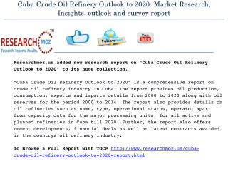 Cuba Crude Oil Refinery Outlook to 2020