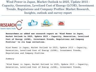 Wind Power in Japan, Market Outlook to 2025