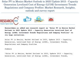 Solar PV in Mexico Market Outlook to 2025