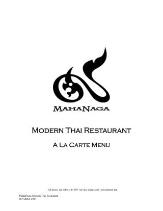 MahaNaga Restaurant in Sukhumvit - Our Menu