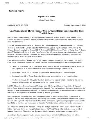 Blog 118 One Current and Three Former US  Army Soldiers Sentenced For Fuel Theft Scheme