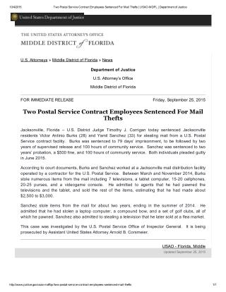 Blog 120 Two Postal Service Contract Employees Sentenced For Mail Thefts _ USAO-MDFL _ Department of Justice