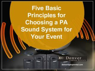 Sound System Rental in Denver - Things to Consider