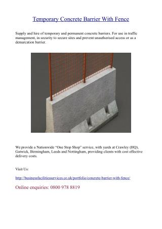 Temporary Concrete Barrier With Fence