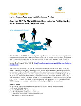 Worldwide Global Over the TOP TV Market – Opportunity and Forecast 2015