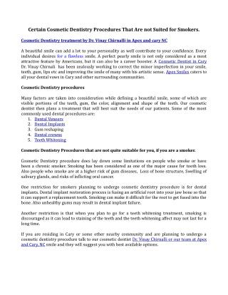 Certain Cosmetic Dentistry Procedures That Are not Suited for Smokers..pdf