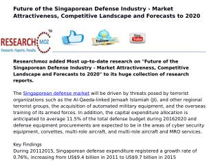 Future of the Singaporean Defense Industry - Market Attractiveness, Competitive Landscape and Forecasts to 2020