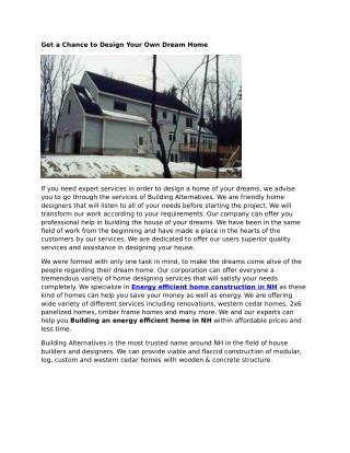 Energy Efficient Home Construction NH