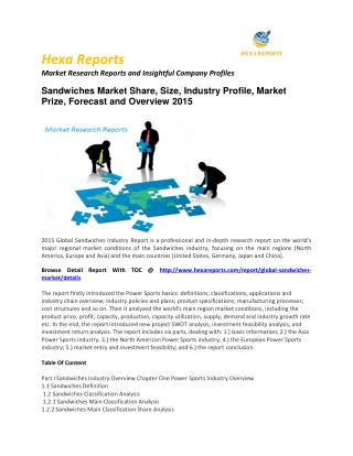 Global Sandwiches Market – Opportunity and Forecast 2015