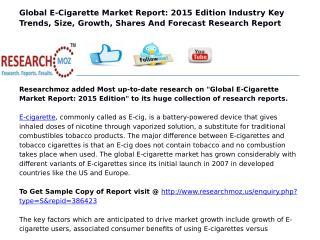 Global E-Cigarette Market Report: 2015 Edition
