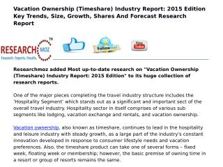 Vacation Ownership (Timeshare) Industry Report: 2015 Edition