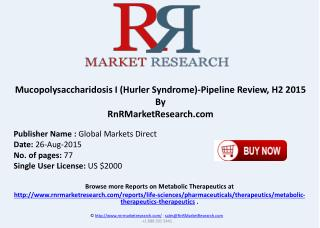 Mucopolysaccharidosis I Hurler Syndrome Pipeline Therapeutics Development Review H2 2015