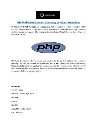 PHP Web Development Company London - Sowedane
