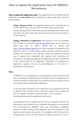 How to Upload the Application Form of TSSPDCL Recruitment