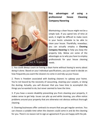 Key advantages of using a professional house Cleaning Company Havering