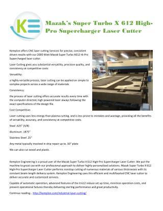 Mazak�s Super Turbo X 612 High-Pro Supercharger Laser Cutter