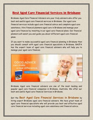 Best Aged Care Financial Services in Brisbane