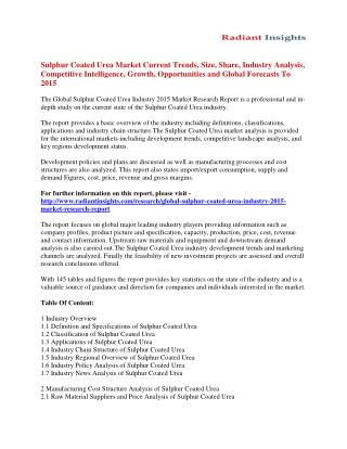 Global Sulphur Coated Urea Market Size, Share, Analysis And Forecasts To 2015