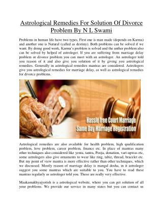 Astrological Remedies For solution of divorce problem by N L Swami