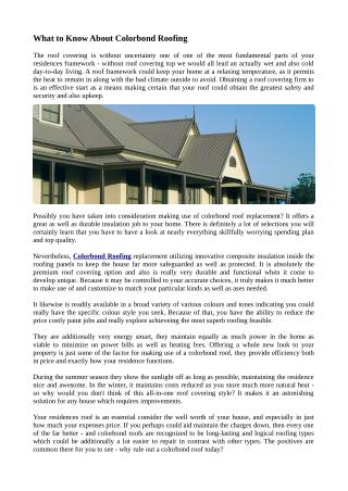 What to Know About Colorbond Roofing