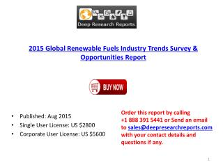 Global Renewable Fuels Market 2015 Demand and Insights Analysis