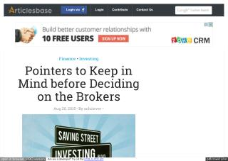 Pointers to Keep in Mind before Deciding on the Brokers