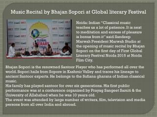 Music Recital by Bhajan Sopori at Global literary Festival