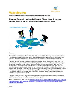Thermal Power in Malaysia Market worldwide Forecast 2015