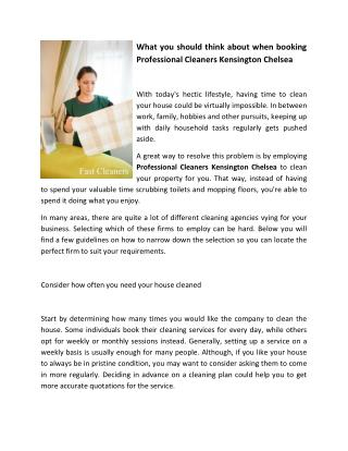 What you should think about when booking Professional Cleaners Kensington Chelsea