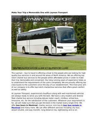 Tour Bus Rentals Montreal