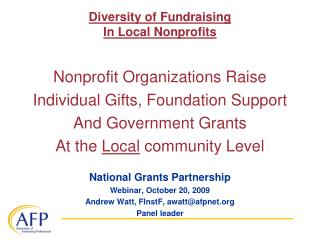 Diversity of Fundraising  In Local Nonprofits
