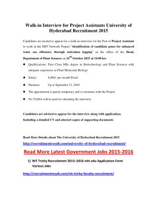 Walk-In Interview for Project Assistants University of Hyderabad Recruitment 2015