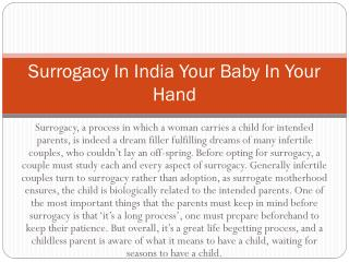 Surrogacy In India Your Baby In Your Hand