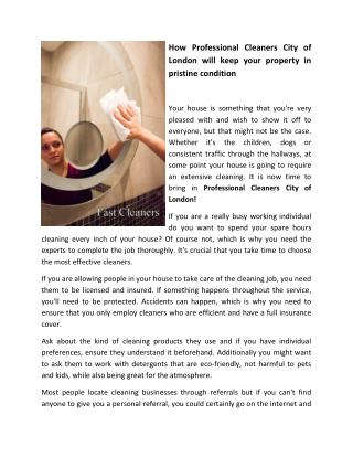 How Professional Cleaners City of London will keep your property in pristine condition