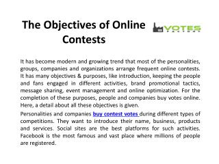 The Objectives of Online Contests
