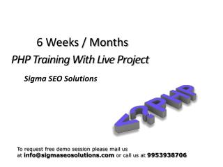 6 weeks summer training on php java dot.net
