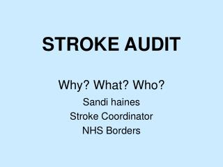 STROKE AUDIT  Why What Who