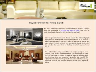 Furniture for hotels in Delhi, Delhi Furniture Manufacturing Company