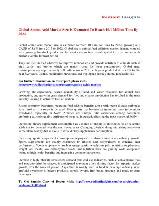 Amino Acids Market Analysis and Forecast Study To 2022