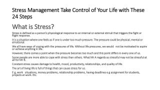 Stress Management-Control Your Life With These 24 Steps