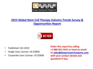 Stem Cell Therapy Industry Statistics and Opportunities Report 2015