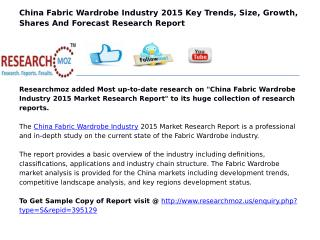 China Fabric Wardrobe Industry 2015 Market Research Report