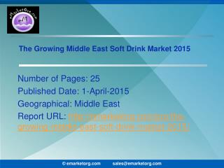 Middle East Soft Drink Market Potential Drivers and Prospects 2015 Report