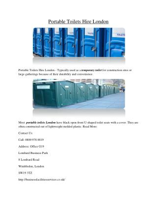 Portable Toilets Hire London