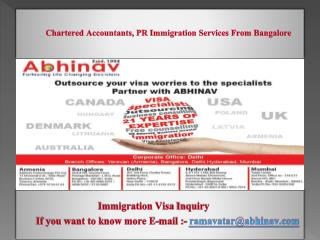 Chartered Accountants, PR Immigration Services From Bangalore