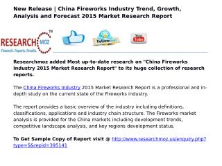 China Fireworks Industry 2015 Market Research Report